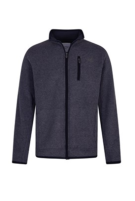 Rossten Full Zip Grid Fleece Jacket Washed Black