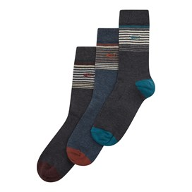 Salvio Striped Sock Multi Pack Washed Black Marl
