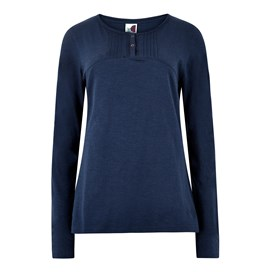 Mae Long Sleeve Cotton T-Shirt Dark Navy