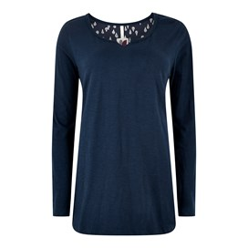 Alice Print Long Sleeve Longer Length T-Shirt Dark Navy