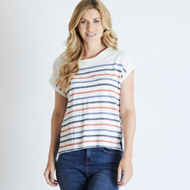 Barberry Stripe Slub Jersey T-Shirt Light Cream