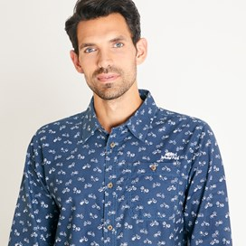 Antoine Patterned Long Sleeve Cotton Shirt Navy