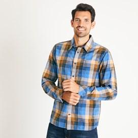 Renato Cotton Madras Check Shirt Riviera Blue