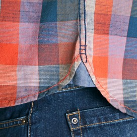 Renato Cotton Madras Check Shirt Dark Rust