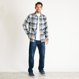 Sedona Herringbone Check Shirt Copen Blue
