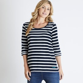Gillian Jacquard Striped 3/4 Sleeve T-Shirt Dark Navy