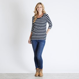 Gillian Jacquard Striped 3/4 Sleeve T-Shirt Dark Navy