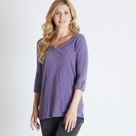 Alice Print Long Sleeve Longer Length T-Shirt Dewberry