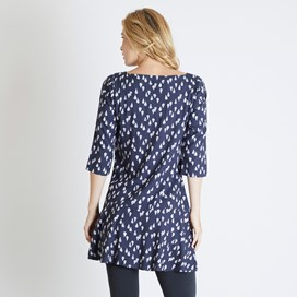 Blaire Printed 3/4 Sleeve Tunic Dark Navy