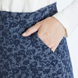 Darryl Floral Printed Jacquard Skirt Dark Navy