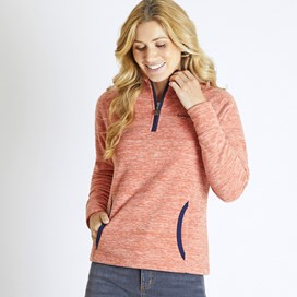 Nancy 1/4 Zip Melange Fleece Sweatshirt Mango