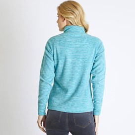 Nancy 1/4 Zip Melange Fleece Sweatshirt Teal Blue