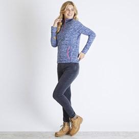 Nancy 1/4 Zip Melange Fleece Sweatshirt Dark Navy