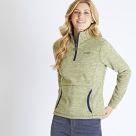 Nancy 1/4 Zip Melange Fleece Sweatshirt Pear