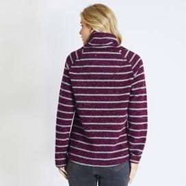 Elliot Striped Funnel Neck Fleece Purple Potion