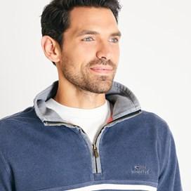 Pemberton 1/4 Zip Striped Pique Sweatshirt Navy
