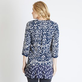 Frances Printed Longer Length Top Dark Navy