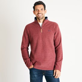 Newark 1/4 Zip Grid Fleece Sweatshirt Henna