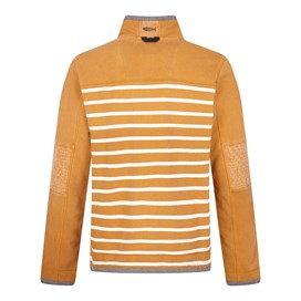 Pemberton 1/4 Zip Striped Pique Sweatshirt Saffron