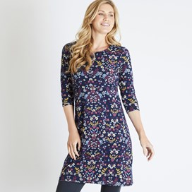 Starshine Printed Jersey Dress Navy