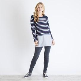 Alta Striped Jersey Tunic Dark Navy
