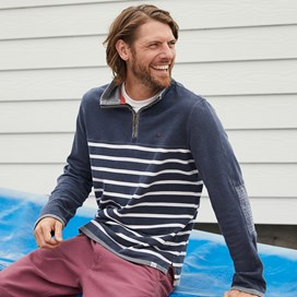 Pemberton 1/4 Zip Striped Pique Sweatshirt Navy