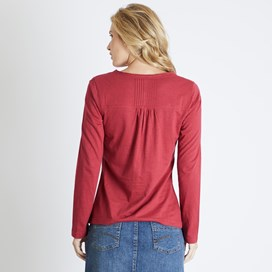 Mae Long Sleeve Cotton T-Shirt Chilli Red
