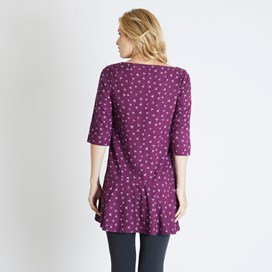 Blaire Printed 3/4 Sleeve Tunic Purple Potion