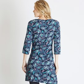 Raven Printed Cotton Jersey Tunic Navy Blue