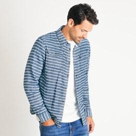 Giovani Striped Brushed Cotton Shirt Navy