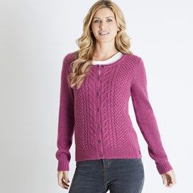 Brielle Plain Cable Knit Cardigan Malaga
