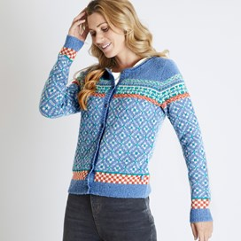 Esther Fair Isle Cardigan Light Blue