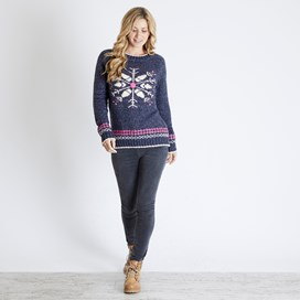 Fiona Snowflake Christmas Jumper Dark Navy