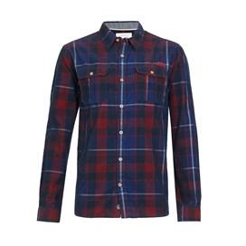Avary Washed Cord Check Shirt Navy