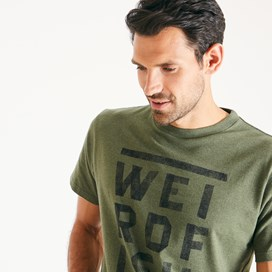 Taped Branded T-Shirt Dark Olive Marl