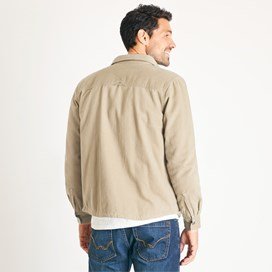 Franco Plain Quilted Cotton Twill Shirt Taupe Grey