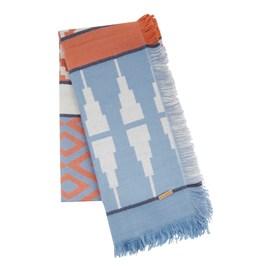 Denka Brushed Patterned Jacquard Scarf Light Blue