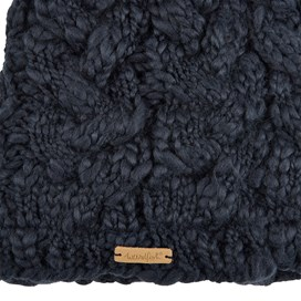 Aysha Plain Cable Knit Beanie Dark Navy