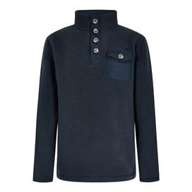 Byron Button Neck Fleece Sweatshirt Navy