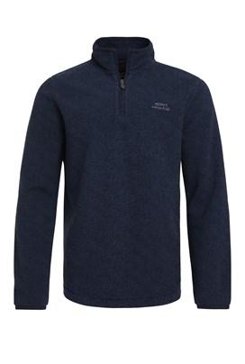 Errill 1/4 Zip Textured Fleece Sweatshirt Dark Navy