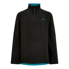 Gene Plain 1/4 Zip Fleece Sweatshirt Washed Black