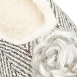 Minnerva Herringbone Ballerina Slipper Soft Grey Marl