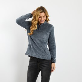 Maiya 1/4 Zip Plush Fleece Sweatshirt Dark Navy