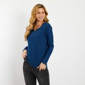 Allery Indigo Jacquard Stripe T-Shirt Indigo