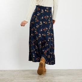 Coco Brushed Twill Printed Maxi Skirt Dark Navy