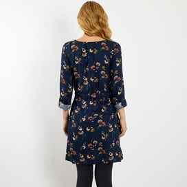 Nelli Brushed Twill Printed Dress Dark Navy