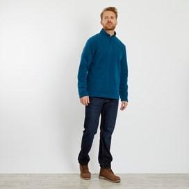 Gene Plain 1/4 Zip Fleece Sweatshirt Deep Sea Blue