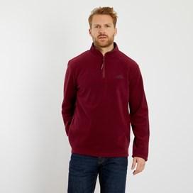 Gene Plain 1/4 Zip Fleece Sweatshirt Pinot Wine