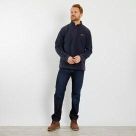 Gene Plain 1/4 Zip Fleece Sweatshirt Navy