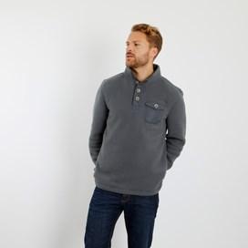 Byron Button Neck Fleece Sweatshirt Cement